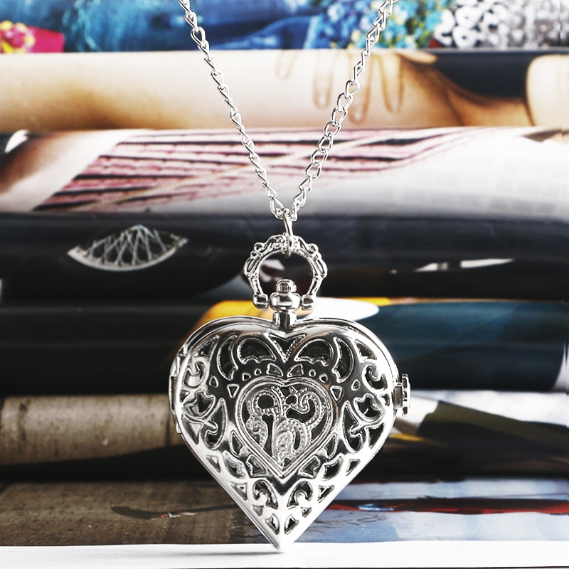 Fashion Silver Heart Shaped Lovely Hollow Elegant Quartz Pocket Watch Necklace Pendant for Women Ladies girl Birthday Gift P605 fashion silver heart shaped lovely hollow elegant quartz pocket watch necklace pendant for women ladies girl birthday gift p605