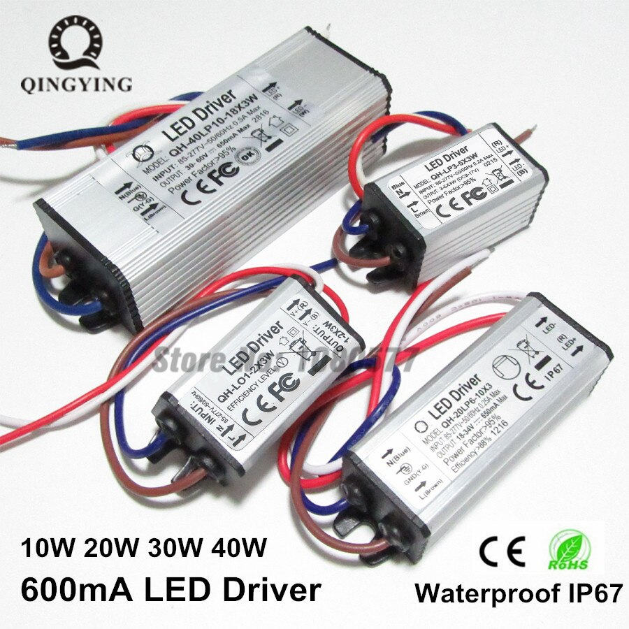 3w-60w isolamento à prova dwaterproof água led driver 600ma fator de alta potência iluminação transformadores para projector luz fonte de alimentação