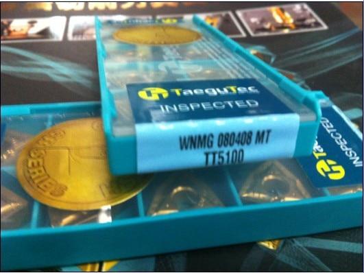 Taegutec insertos de carburo de tungsteno WNMG080408MT TT5100 herramientas de torneado WNMG 080408 MT TT5100 negativo 80 grados Trigon insertos