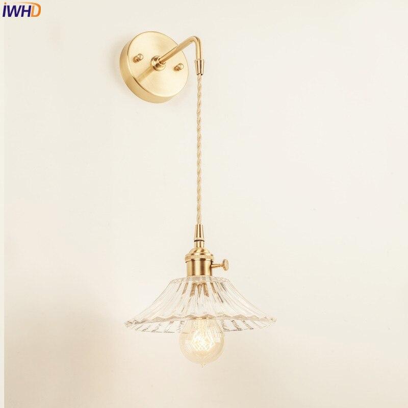 IWHD-مصباح جداري زجاجي إسكندنافي عتيق ، مصباح جداري لغرفة النوم ، مرآة الحمام ، مصباح جداري نحاسي اديسون ، إضاءة منزلية