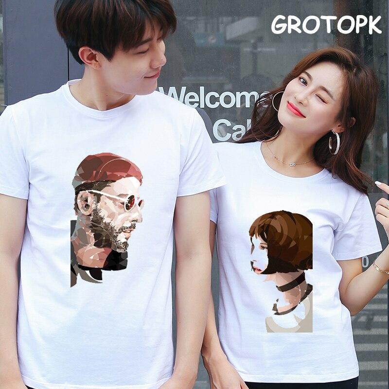Ropa de pareja profesional Leon, camisetas estéticas Harajuku estampadas a mano para mujer/hombre, camisetas Vintage para parejas