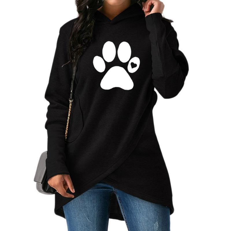2018 neue Mode Paw Print Sweatshirt Femmes Hoodies Frauen Tops Muster Casual Taschen Komfortable Kreative
