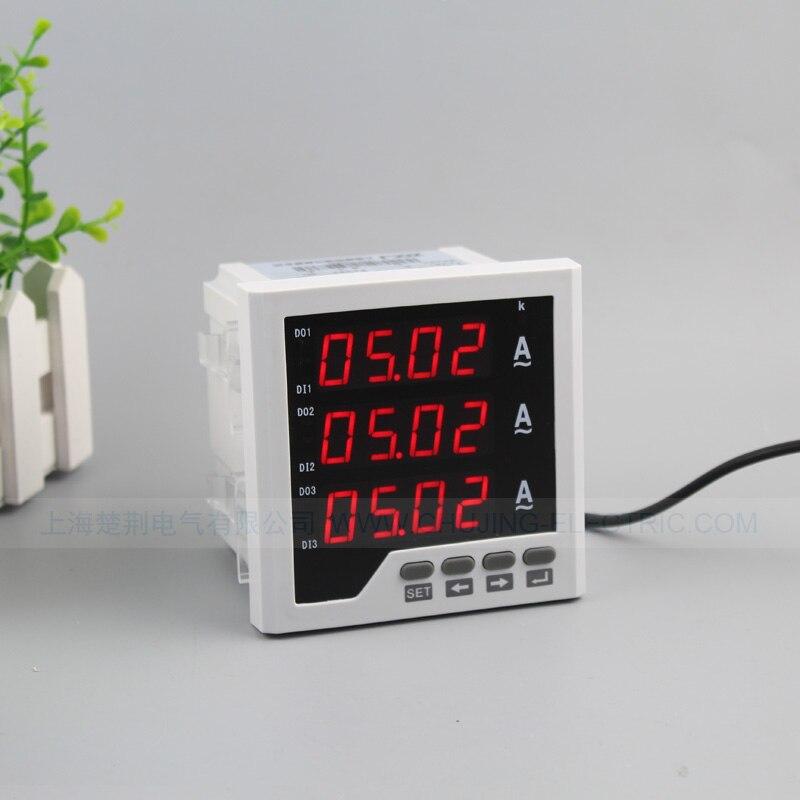 Medidor de panel de amperios digital de 3 fases con instrumento de panel de corriente de salida de alarma por encima/debajo de la corriente con salida de señal de interruptor