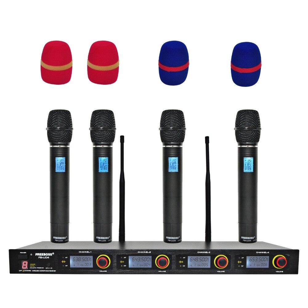 Freeboss FB-U04 4 طريقة 4 قنوات 4 المعادن Handhelds ل كاريوكي KTV حفلة ديناميكية هيئة التصنيع العسكري الكنيسة ميكروفون مكبر صوت لا سلكي ذو تردد فوق العالي