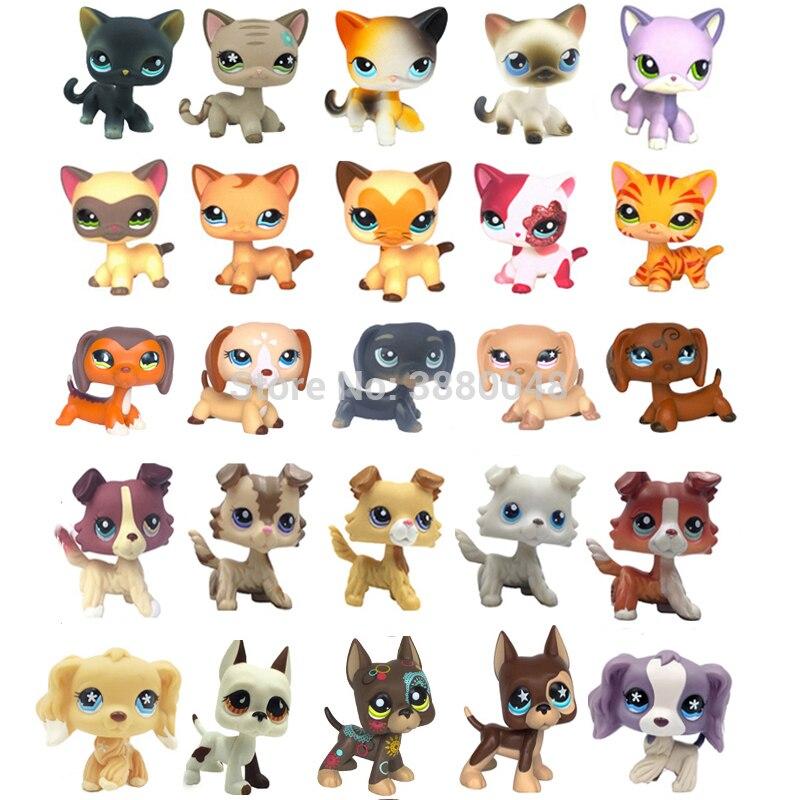 Zeldzame Pet Shop Leuke Speelgoed Staan Kleine Kort Haar Kat Hond Collie Teckel Cocker Spaniel Great Dane Anime Speelgoed Voor kind
