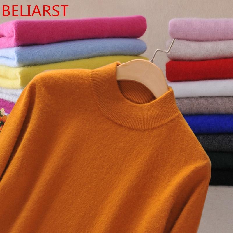 BELIARST nouvelle marque femmes chandail laine pull grande taille mince rose pull Femme 2XL Main cachemire tricoté pull femmes