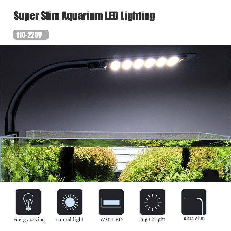 110-220 в супер тонкий аквариум светодиодное освещение водные растения растущий свет Водонепроницаемый клип на лампы для аквариума
