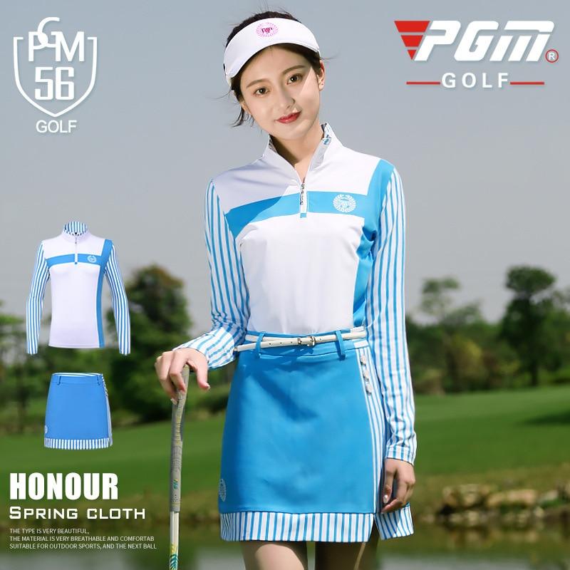 ملابس الجولف النسائية بأكمام طويلة ، بدلة مخططة ، قمصان تنس الجولف ، تنورة رياضية ، مجموعات الربيع والصيف ، AA60492