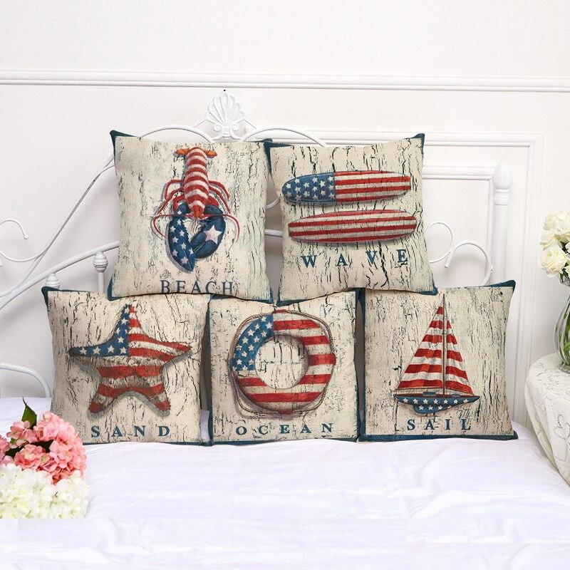 Funda de cojín Vintage de decoración marina, funda de almohada, funda de algodón de lino para silla, sofá, ancla, Bandera de remo, funda de cojín para el hogar