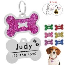 Étiquettes de chien animal de compagnie personnalisées   À paillettes, étiquettes didentification de chat en forme dos, pendentif pour animal, gravure gratuite, cloche cadeau