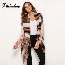 Fitshinling irrégulière frange vintage chandails cardigans pour femmes mode dhiver 2018 veste femme long cardigan tricots manteaux