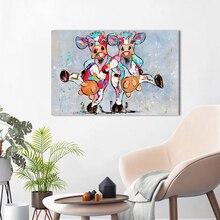 HDARTISAN Vrolijk Schilderij Muur Canvas Schilderij Dier Foto Prints Gelukkig Koeien Home Decor No Frame