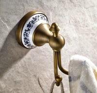 wall mounted vintage retro antique brass bathroom towel coat hooks dual robe hook hanger bathroom accessory mba410