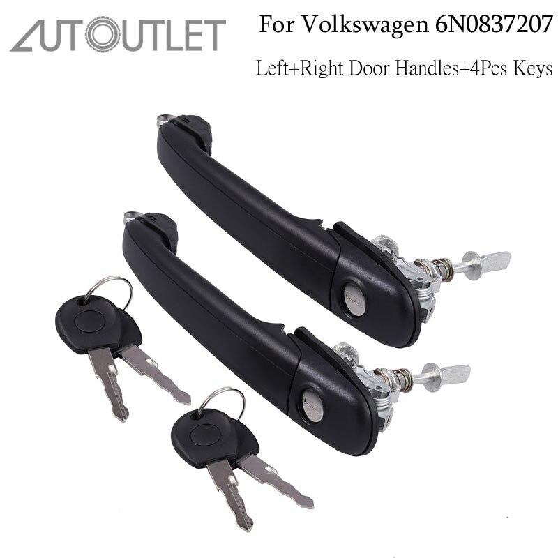 Manija de cerradura de puerta de salida automática frontal derecha izquierda para Barril 4 Uds llaves para V W POLO izquierdo + manija para puerta derecha con 4 llaves para 6N0837207