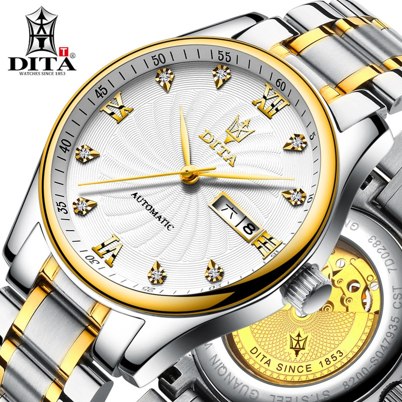 DITA hombres mecánico automático reloj impermeable banda de moda de lujo deportivo de negocios Casual de marca relojes hombre Relogio Masculino
