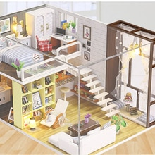 mini house Miniature DIY House Kit Educational Handmade Assembly Model Room With Furniture (Standard)