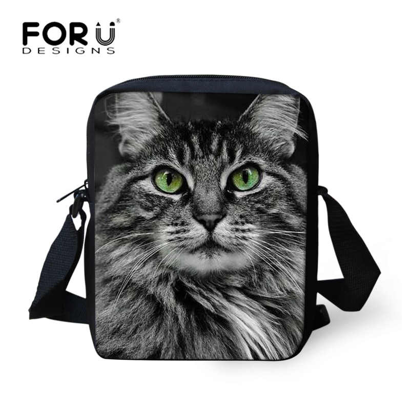 FORUDESIGNS gato negro, Bolsas de mensajero para mujeres, niñas bolso Gato Siamés Casual pequeño bolsos de hombro de viaje damas Bolsas nuevo