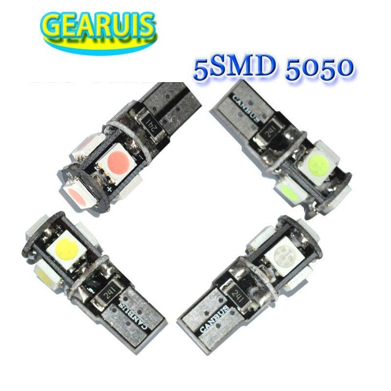 100X coche led t10 canbus 5smd led smd 5050 5 3 chips w5w cuña lámpara de bombilla de luz de 194 de 168 a 501 blanco rojo amarillo verde Hielo Azul 12 v