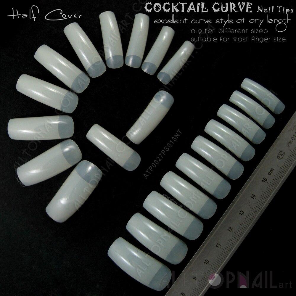 Cônico Profundo-Curva C Pontas Das Unhas francês 100x Marfim Natural Falso Unhas Alongadas Curva Cocktail Arco Cobrir Metade Do Prego-frete Grátis