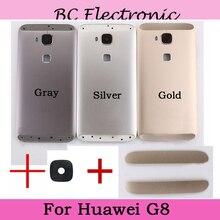 Gris argent or avec caméra arrière verre arrière boîtier de batterie ensemble de porte + bouton de Volume dalimentation pour Huawei G8 étui de couverture arrière