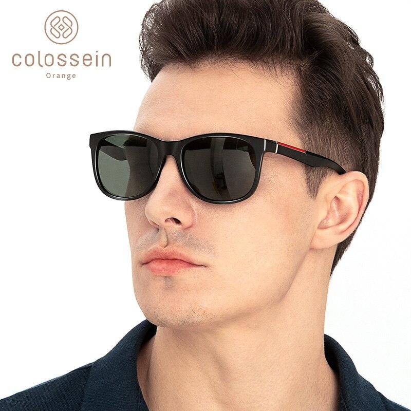 Мужские и женские солнцезащитные очки COLOSSEIN, классические поляризационные квадратные очки TR90 в оправе, Винтажные Солнцезащитные очки для в...