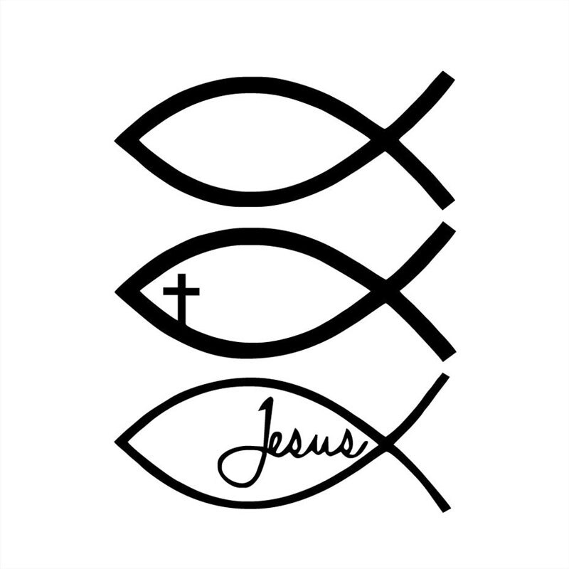 Pegatina de vinilo de la cruz cristiana de Dios, pez Jesús, 9,6 CM * 12,8 CM, pegatina de coche, C8-0055