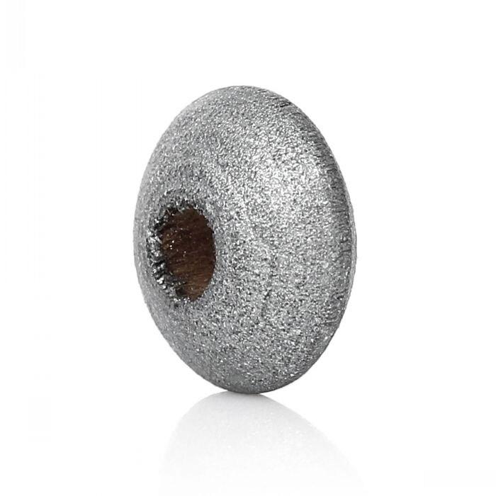 Madeira Spacer Beads Rondelle Ábaco DoreenBeads Cor Prata Sobre 10 milímetros Dia,Hole Aproximadamente 3.0 milímetros, 500 PCs