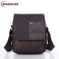2020 vintage Man bag shoulder crossbody bags for men messenger bag man leather Pu plaid small male handbags black L4-3333