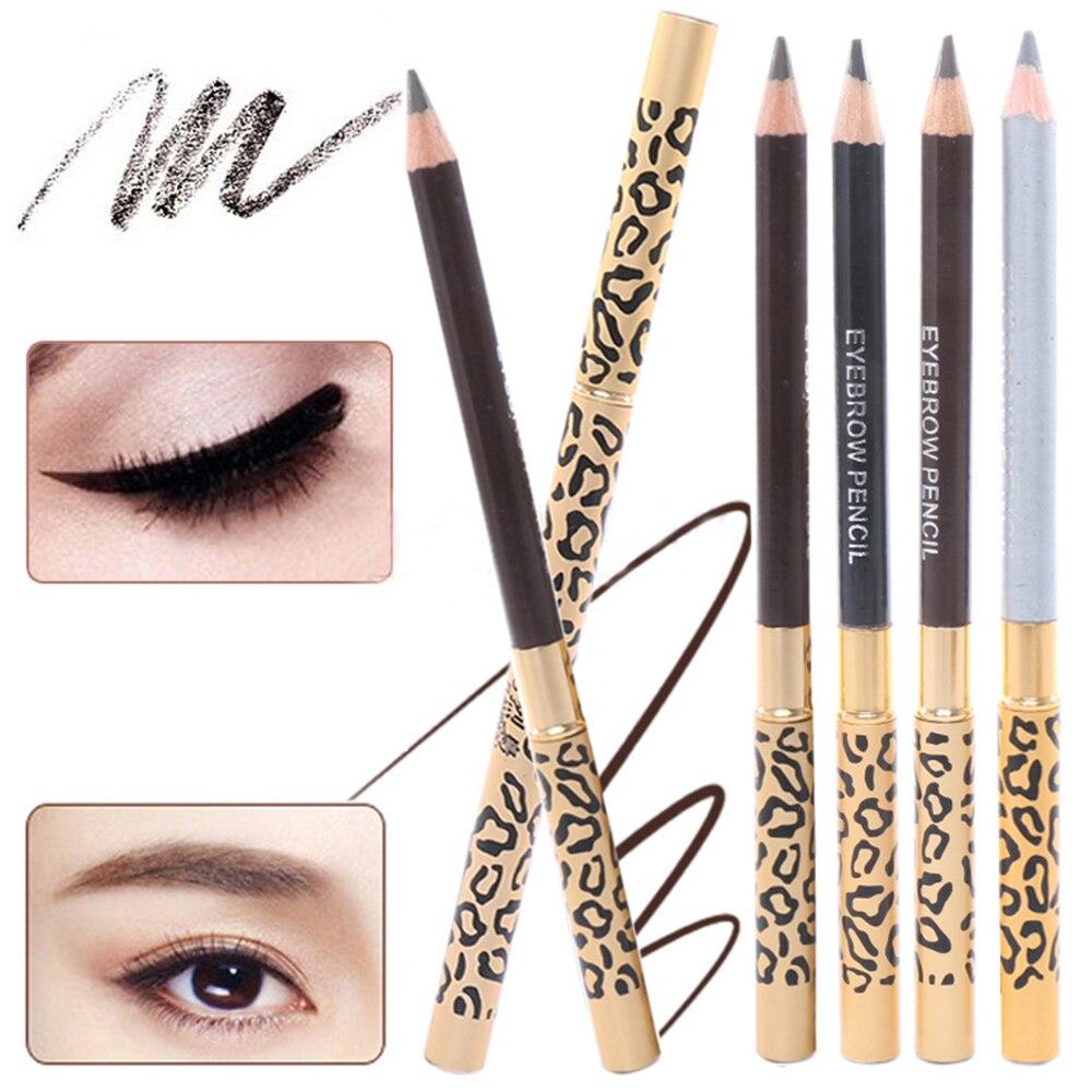 1 lápiz de leopardo impermeable para cejas de mujer, lápiz marrón de ojo negro con pincel, delineador de ojos, delineador de ojos, herramientas de maquillaje