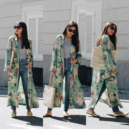 Women Loose Retro Silk Casual Kimono Flower Long Cardigan Tops Boho Autumn Winter  Coat Jacket Blouses Long Sleeve Coat