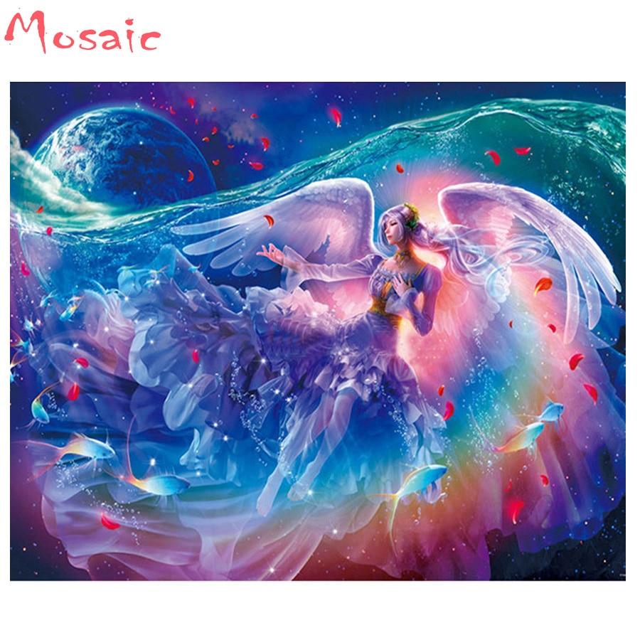 """5d Diy pintura de diamante """"fantasy Angel"""" punto de cruz cuadrado completo bordado de diamantes cuentas mosaico patrón rompecabezas pintura arte de pared"""
