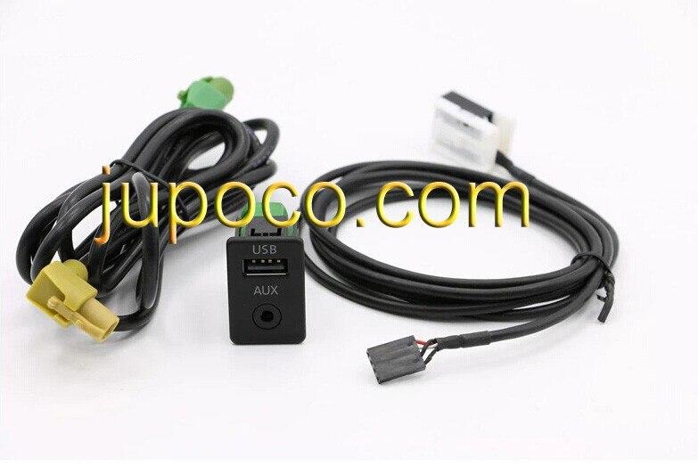 Envío Gratis OEM 2 en 1 USB AUX Cable de interruptor para RCD510 RNS510 RNS315 RCD500 RNS300 RCD300 RCD200 GOLF MK6 JETTA MK5 Sagitar
