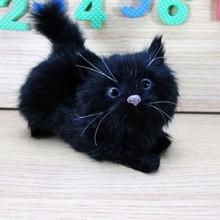 simulation black cat about 12x5x10cm hard model toy polyethylene&furs lovely cat ,decoration toy gift s1783