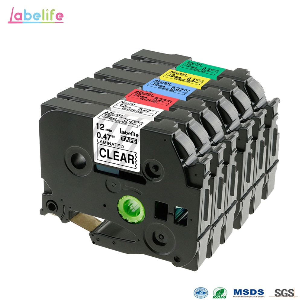 Labelife-مجموعة ملصقات الطابعة ، حزمة من 6 ، TZe131 ، TZe231 ، TZe431 ، TZe531 ، TZe631 ، TZe731 ، متوافق مع Brother P-touch ، شريط ملصقات TZ