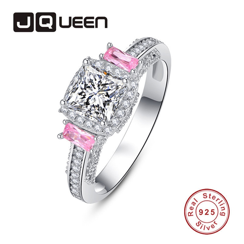 JQUEEN 4mm*2mm 2 Powder Zircon Princess Cut Ring 925 Jewelry Pave Setting Crystal Jewelry Bijoux Femme