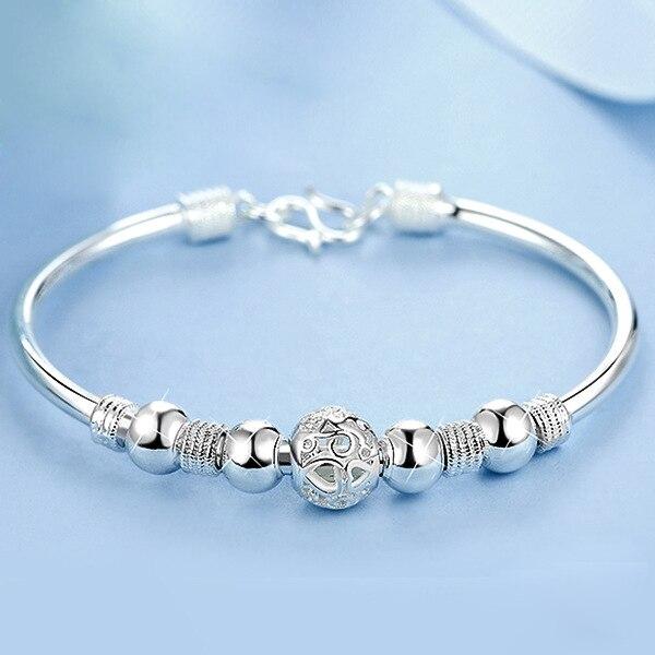 3 Estilo nueva plata de ley 925 brazalete con amuleto de la suerte pulseras de brazalete para las mujeres brazaletes pulsera joyería de moda