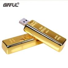 Altın usb flash sürücü Metal kalem sürücü 4GB 8GB 16GB 32GB 64GB altın Bar USB2.0 Flash bellek pendrive külçe sopa disk hediye