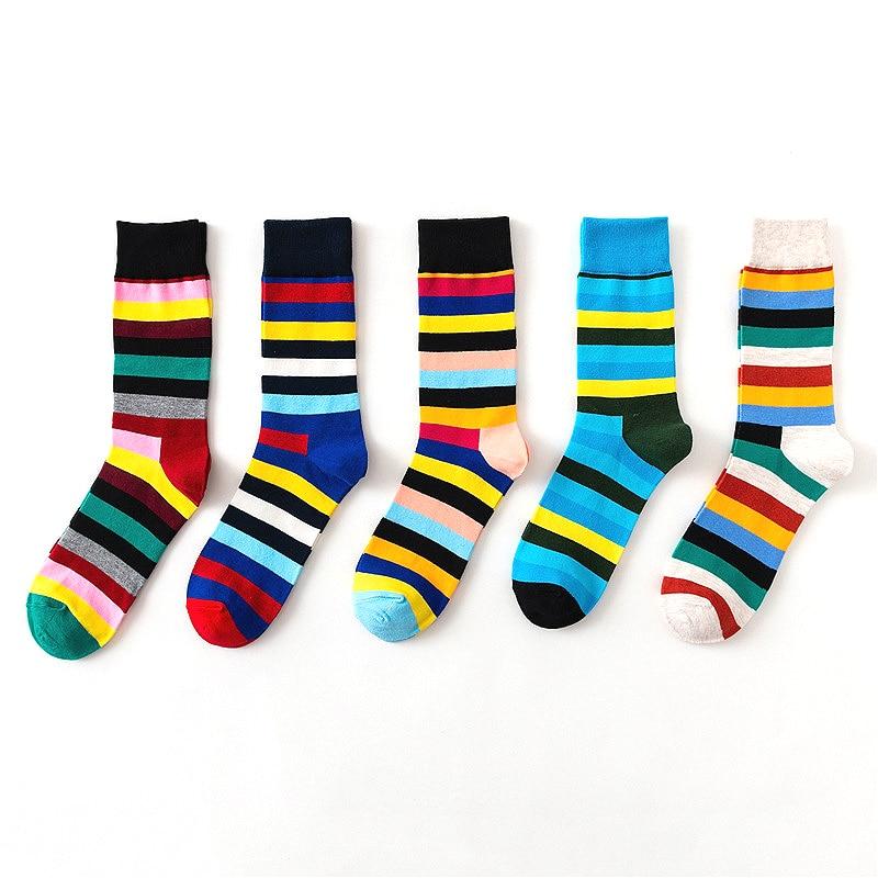 Новые мужские модные цветные полосатые хлопковые высококачественные чесаные хлопковые цветные красивые эксклюзивные повседневные носки 2...
