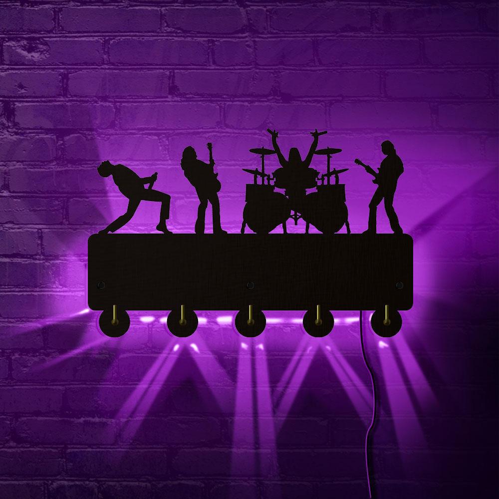 Banda de Rock decoración del hogar ganchos LED Rock música Multi-color cambio pared abrigo llaves ropa gancho llavero regalo para la cantante ídolo