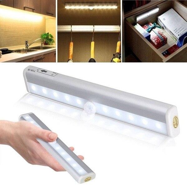 Senza fili LED Sotto Le Luci Armadio 6/10 LED Armadio Luce Bianco/Bianco Caldo del Sensore di Movimento Della Luce di Notte Attivato per la Cucina scrivania