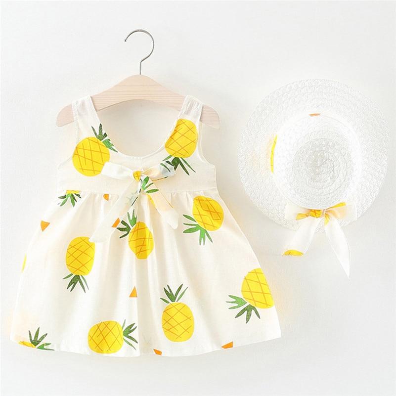 Bebê da criança crianças meninas sem mangas abacaxi vestidos de princesa arco chapéu outfits vestidos de nocherobe fille modis f1