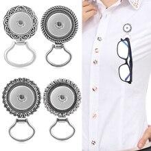 Snap bijoux Portable lunettes magnétiques support de support en verre Sungasses pince Badge accrocher aimant crochet ajustement 18mm Snap breloques