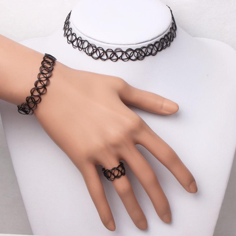 1 Set Summer Style Collares Women Girls Elastic Vintage Gothic Punk Stretch Tattoo Choker Necklace Bracelet Adjustable Stretchy