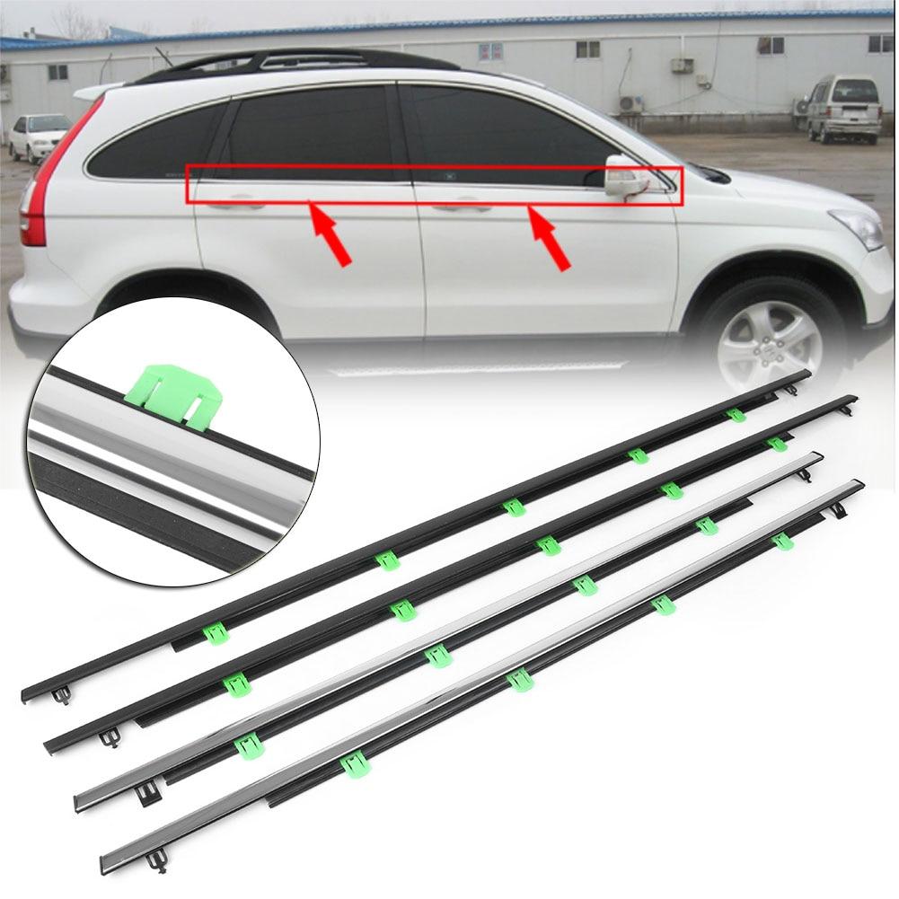 CRV ventana exterior moldeado adornos burlete cinturón de sellado de tiempo tiras para Honda CR-V 2007, 2008, 2009, 2010, 2011 4 unids/set