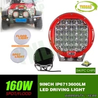 ynroad 160w 9inch red round led driving light led off road light led work light for suvatvutv use 14400lm