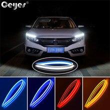 Ceyes 2PCS Waterproof Flexible Universal Car Styling Led DRL Daytime Running Light Flowing Runs Headlight Strip Turn Signal Lamp