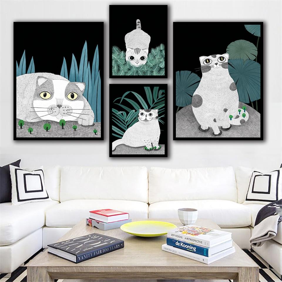 Dibujos Animados gris gato gordo cuadros acuarela lienzo impresión hojas pintura nórdico Animal cartel pared arte sala de estar decoración del hogar