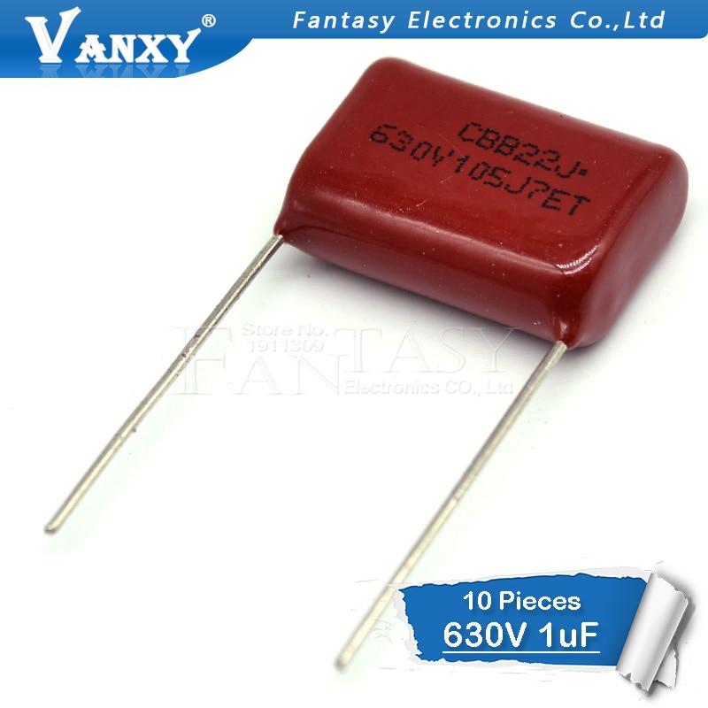 10 шт. 630V105J 630V 1UF шаг 20 мм 105 1000NF CBB полипропиленовый пленочный конденсатор
