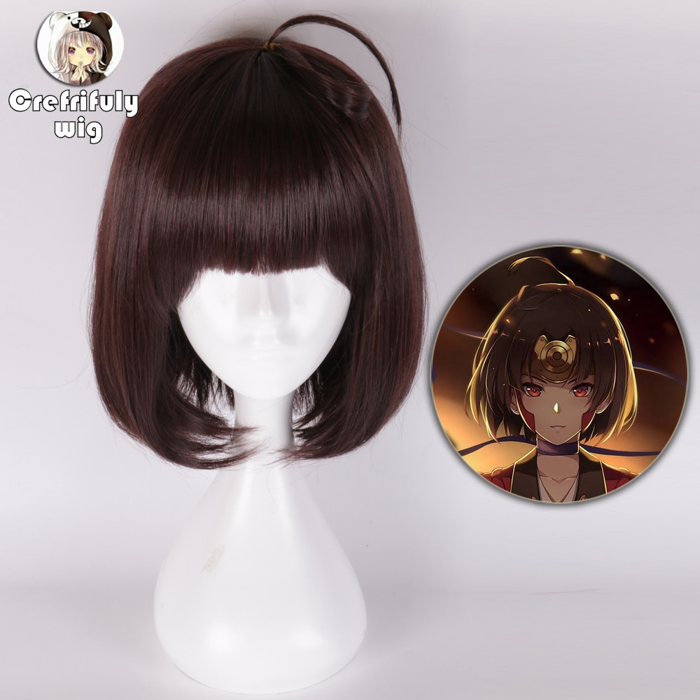 Anime hozumi mumei Bungo Stray Dogs Cosplay peluca corta de pelo sintético marrón oscuro Akiko Yosano Cosume pelucas de fiesta + gorra de peluca gratis