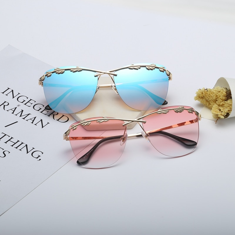 Солнечные очки в уличном стиле женские, аксессуар от солнца с оливковыми листьями, большие, розовые, странные, оригинальные, 2019
